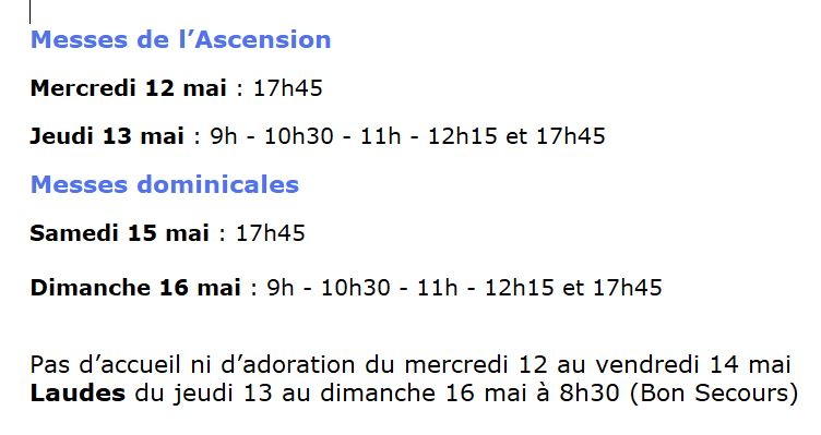 Horaires de l'Ascension