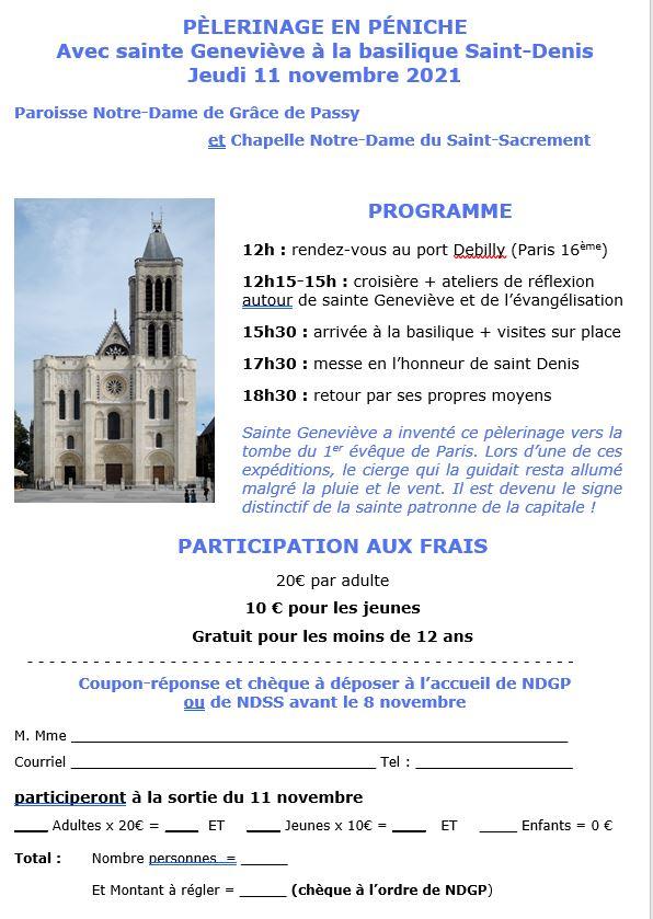 Pélerinage en péniche le 11 novembre à Sain-Denis